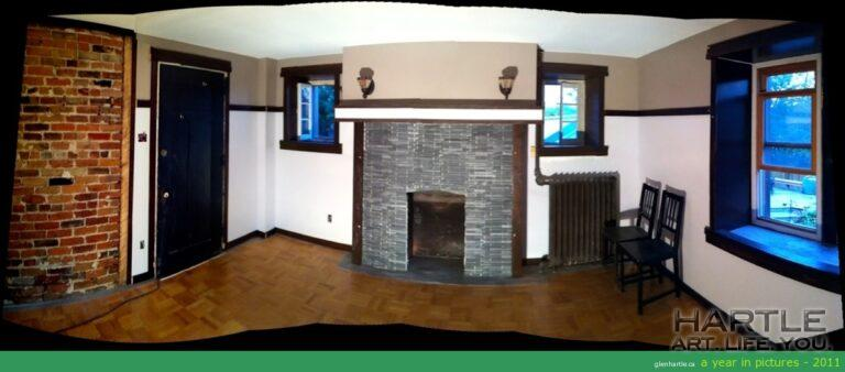 The Cauchon Room coming along … trim, fireplace, brick — a very different look