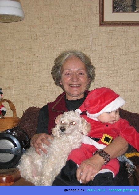 On Christmas Eve, Bonnie came over with her daughter, grand-daughters, and this fella – her great grand-son.  Mom lit up when she got to hold him.