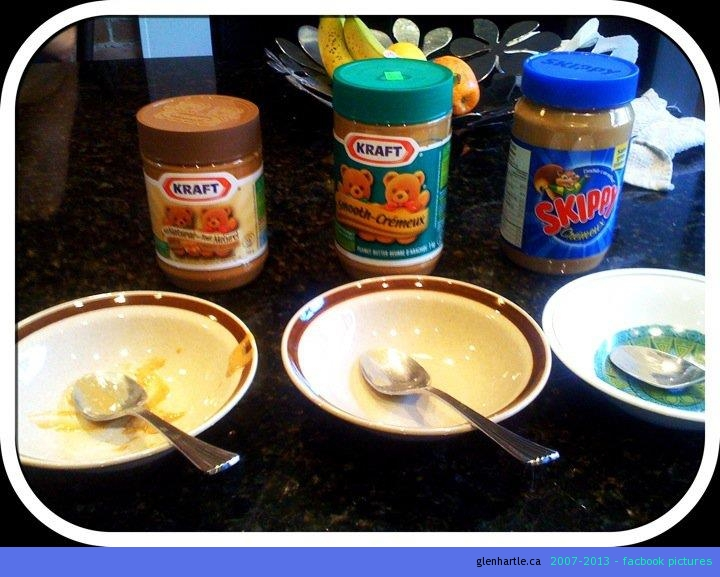 What better to do on a hot summer day than a blind-peanut-butter-taste-test! #1 choice – Kraft 100% All Natural, #2 Skippy and #3 Kraft Smooth. Now to get ready for the Mr Freezie taste test!