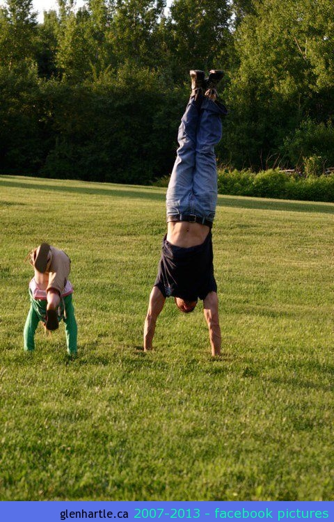 Brie and I trying to outlast each other in a handstand.