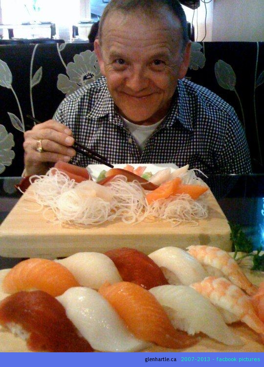 Dan hovering over our sushi lunch