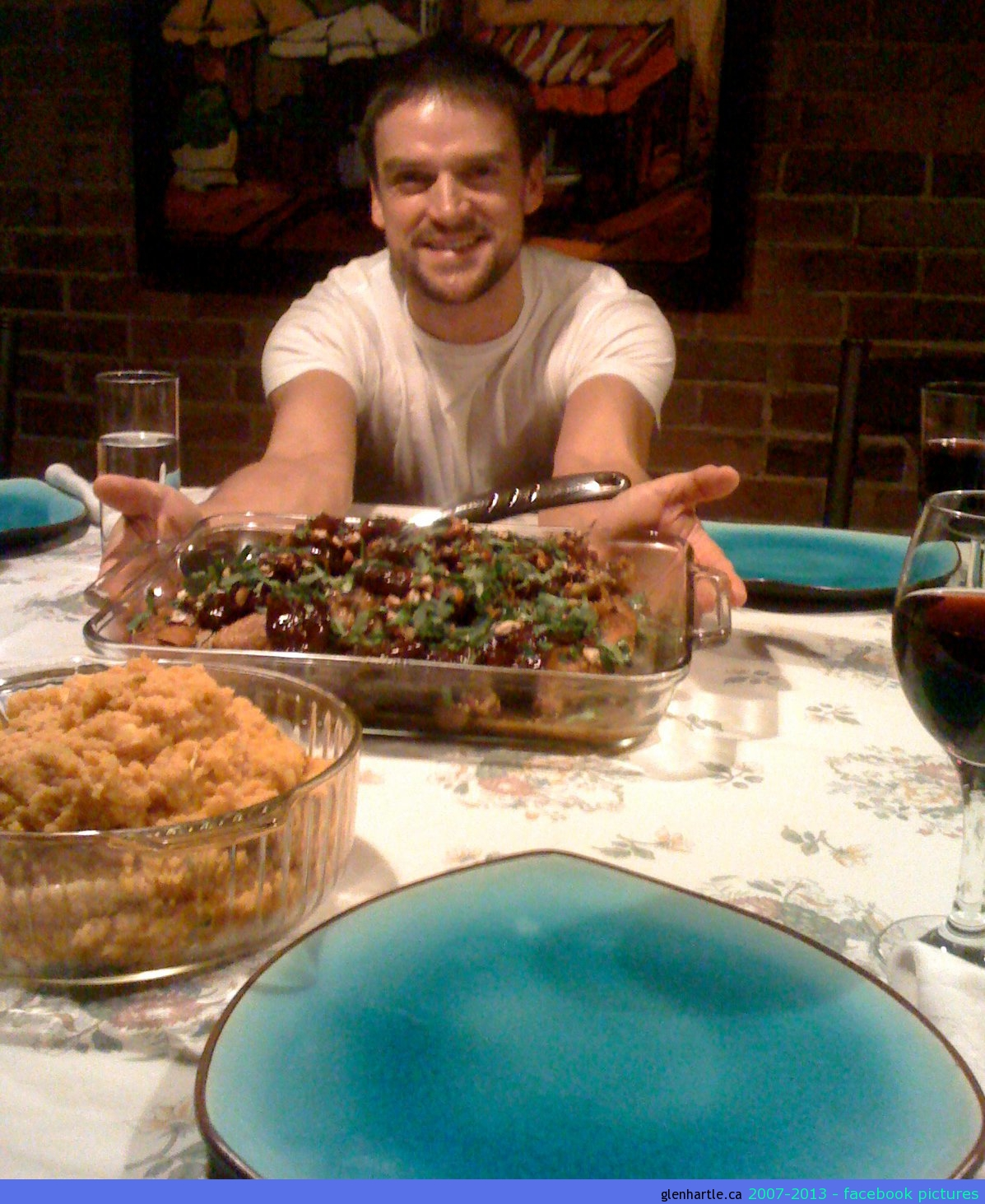 Dinner was compliments of me from epicurious recipes: Crushed Peas with Feta and Scallions, Braised Chicken with dates and Moroccan spices, Pumpkin Potato puree.http://www.epicurious.com/recipes/food/views/Crushed-Peas-with-Feta-and-Scallions-358562http://www.epicurious.com/recipes/food/views/Braised-Chicken-with-Dates-and-Moroccan-Spices-361592http://www.epicurious.com/recipes/food/views/Pumpkin-Potato-Puree-358093