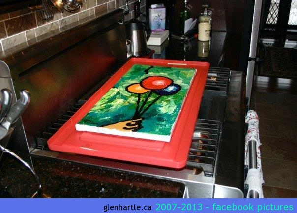 The painting for Chantal as it dries on the stove. She has posted a pic on her profile of the final framed painting.