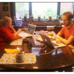 Times they are a changing!! Mom and Louis at the breakfast table. You can't see it, but mom's actually texting on her phone at the same time ~ she is soooooooo hip!