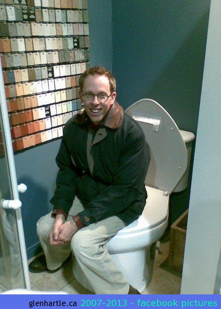 """We decided to redo one of the bathrooms on the main floor (we used to call it the """"Salmon"""" bathroom — now it's white and black so we call it…originally…the """"White"""" bathroom).  So…off we went shopping for new fixtures and such and found this """"Big John"""" at Boone plumbing…It's the biggest darn toilet we've EVER SEEN! Louis tried it out…"""