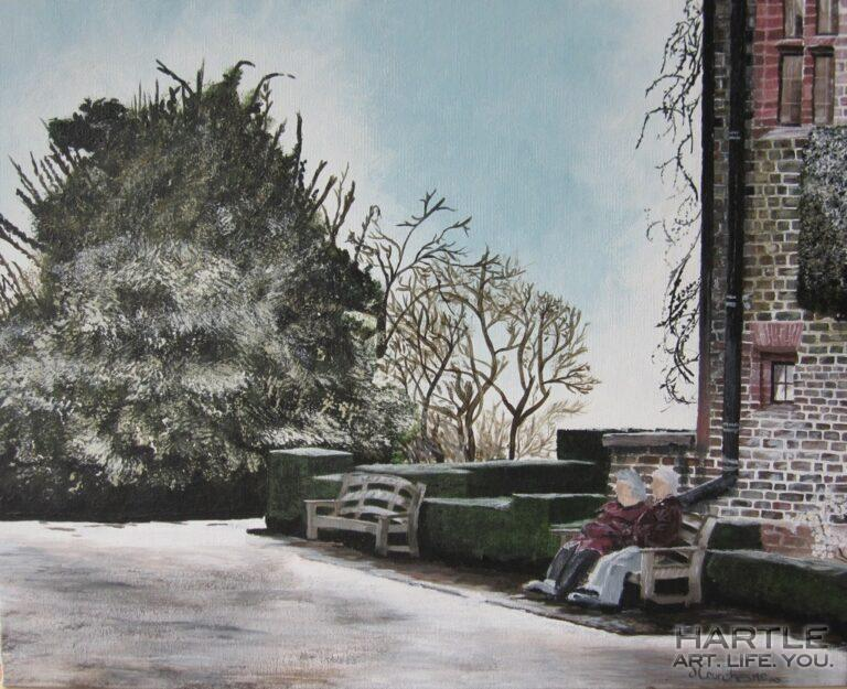 A painting of a photo – The Ladies On The Bench