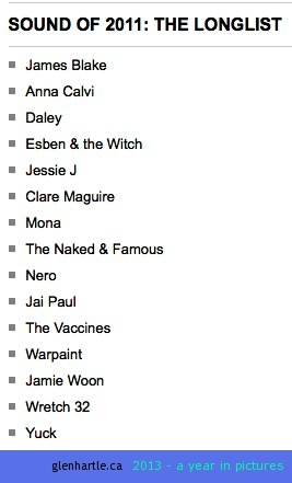 Did a google search for songs of 2011, and this list came up.  Was I on a different planet this year??