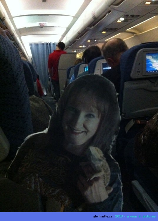 The Air Canada stewardess was very understanding of Corina's excited nature during take-off and even made sure to bring her some extra red wine.