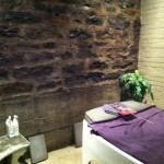 Aquatherapy Room!! The slight hint of eucalyptus, the gentle sounds of the harp and the ambient temperature set a mood that melted Corina onto the bed…go figure…