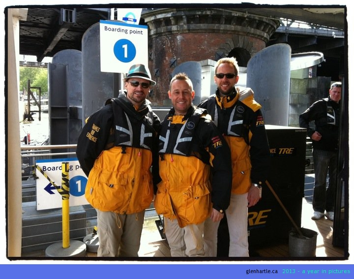 """Getting ready for the """"Thames Rib Experience""""…which was AWESOME!! almost 60 miles an hour down/up/whatever the Thames for 45 minutes. Thrilling!!"""