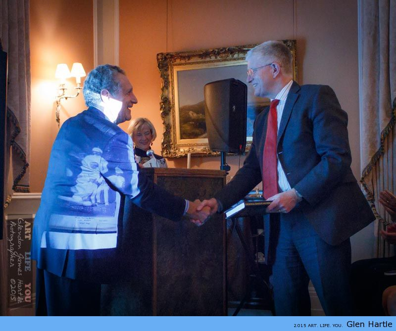 The High Commissioner, Howard Drake, receives his gift of a dedicated book ~ by both author and photographer