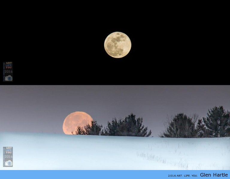 The rising and setting of the full moon ~ February 2016
