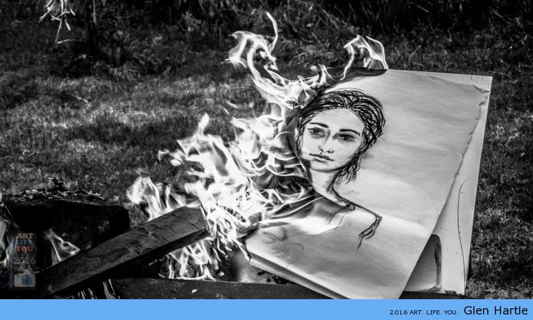 The lady in the flames. (photo, me; drawing, M. Melo)