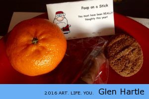 Lunch from Cheryl compete with poop on a stick …