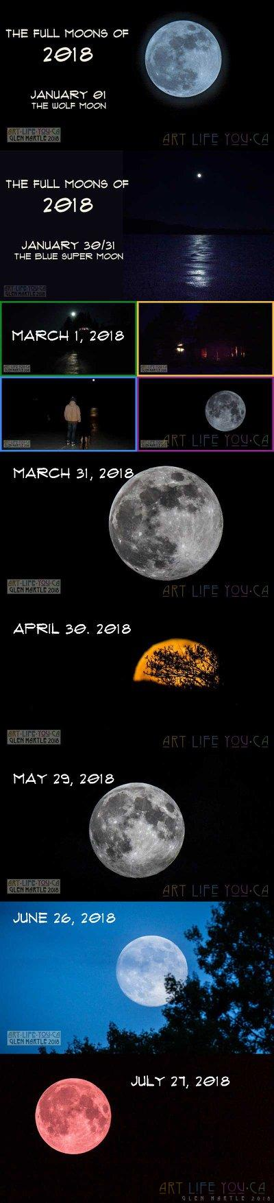 """Full Moons of 2018"" mini-challenge – last night's ""blood"" moon added (I may have used a bit of license in the edits …)"