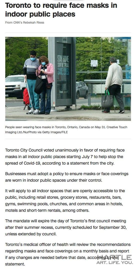 Face mask in indoor public spaces in Toronto until end of September …