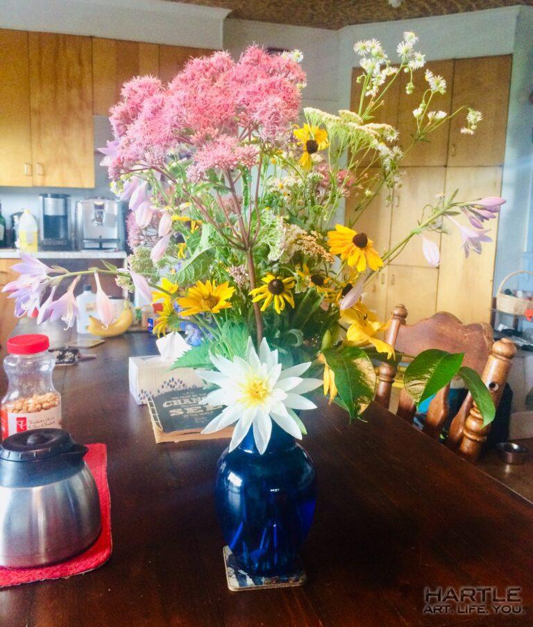 When someone else sees your space through their eyes … and shares. Water lilies and swamp milkweed in a vase xo xo