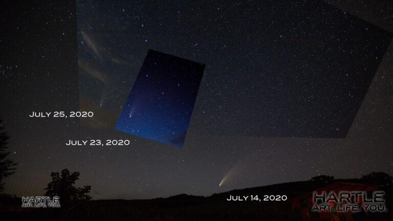 The comet is getting dimmer – harder to spot in the night sky. Here you see it on three nights with the Big Dipper as guiding anchor.
