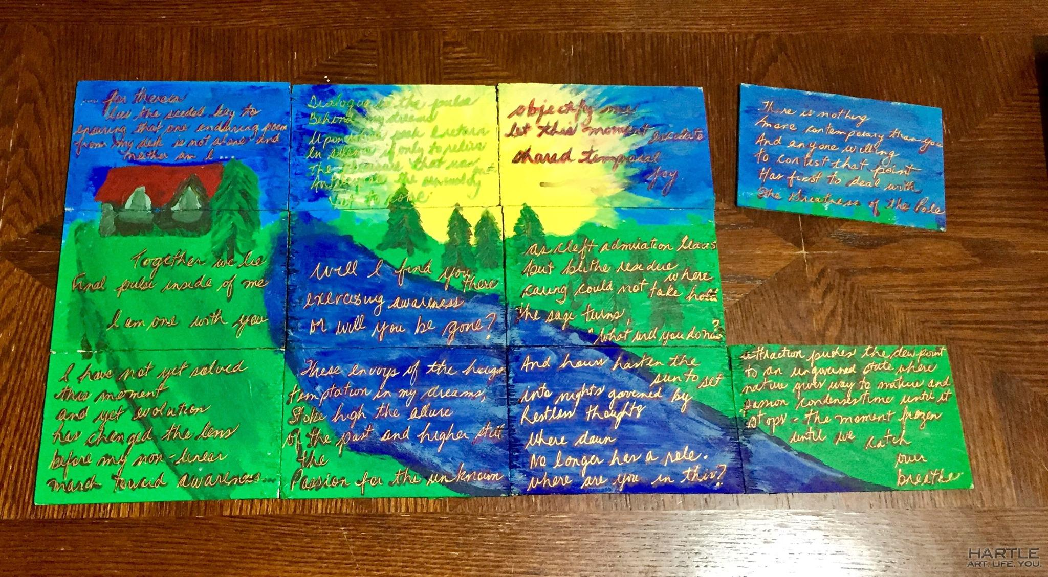 For many weeks now, I've been receiving anonymous wooden post cards in the mail. Each has part of one of my poems written on it and collectively – it is a painting of my home. There's one missing but the image, message and origin are known – Thank you anonymous xo