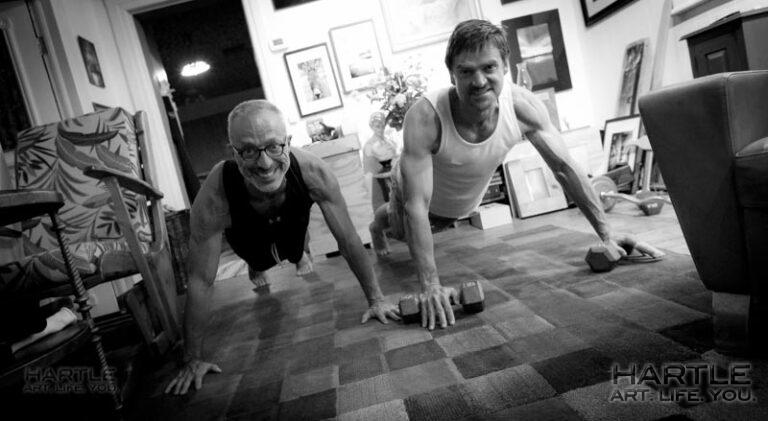 Done and in the books! This is what the end of 1,000 push-ups looks like – big smiles!!