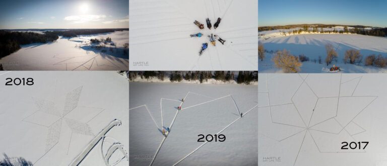 Looking back … snowshoe designs on the lake …