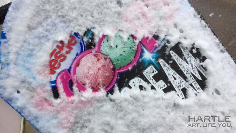 April 30th and scraping through the snow on the ice cream sign to see their options … proverbial SLAP – TICKLE