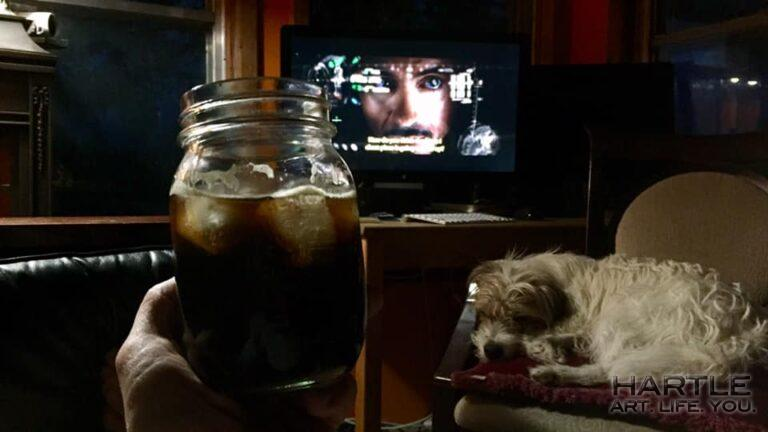 Sunday. Family. Mason jar cocktail. Iron Man. Moomoo. Hold my calls.